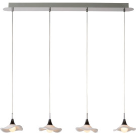 Suspension contemporaine led en verre 4 ampoules Bella