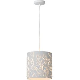 Suspension moderne en métal blanc et motifs papillons Solene