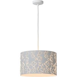 Suspension moderne en métal blanc et motifs fleurs Solene