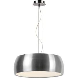 Suspension moderne en métal et acrylique chrome satiné Kahina