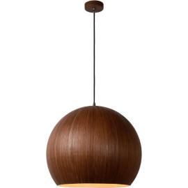 Suspension moderne boule Ø 50 cm en bois foncé Catherine