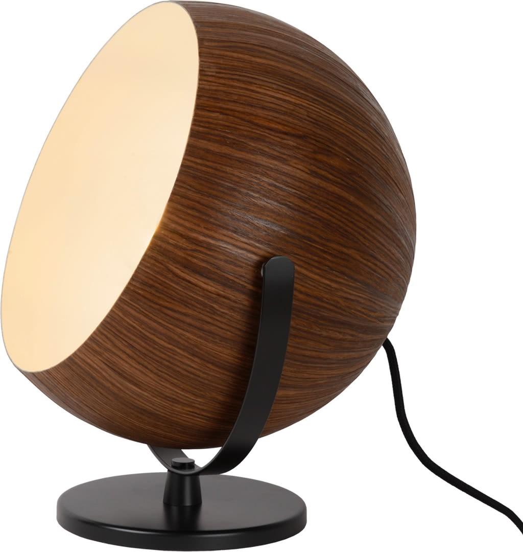 Lampe à poser moderne boule en bois foncé Catherine
