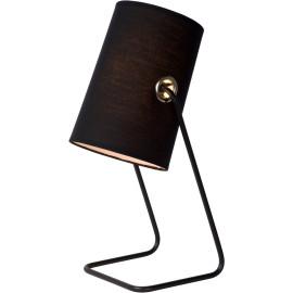 Lampe de table contemporaine métal et tissu noir Yolaine