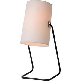 Lampe de table contemporaine métal et tissu blanc Yolaine