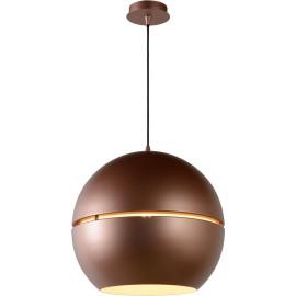 Suspension vintage en métal boule brune Seventy
