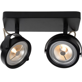 Spot industriel orientable en aluminium noir 2 spots Tino