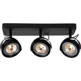 Spot industriel orientable en aluminium noir 3 spots Tino