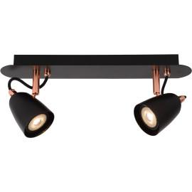Spot classique led 2 spots en métal cuivre Solati