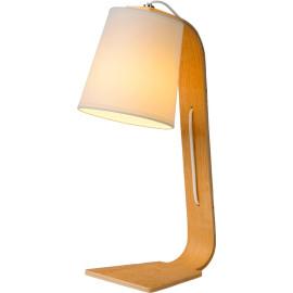 Lampe de table contemporaine en bois et tissu blanc Christalline