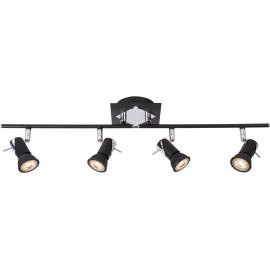 Plafonnier carré led design noir 4 spots Nimea