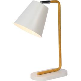 Lampe de table contemporaine en métal effet bois et blanc Portorico