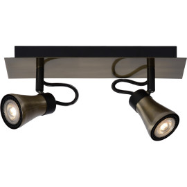 Plafonnier design led 2 spots effet bronze Bloom