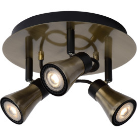 Plafonnier design rond led 3 spots effet bronze Bloom