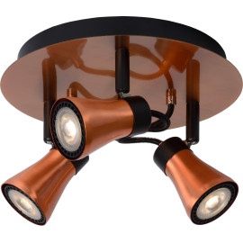 Plafonnier design rond led 3 spots effet cuivre Bloom