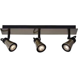 Plafonnier design led 3 spots effet bronze Bloom