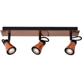 Plafonnier design led 3 spots effet cuivre Bloom