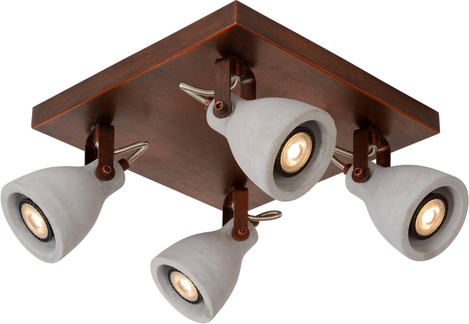 plafonnier industriel carr 4 spots en b ton cuivre kyrios. Black Bedroom Furniture Sets. Home Design Ideas