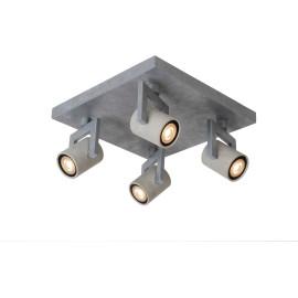 Plafonnier industriel carré en métal 4 spots Trevis