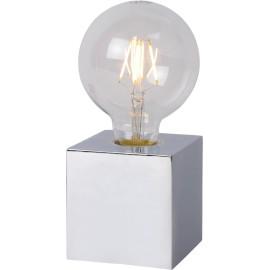 Lampe de table design Led intégré socle cubique métal blanc Svelta