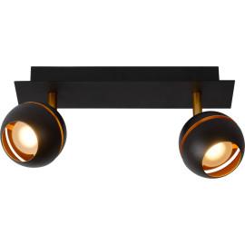 Plafonnier design noir 2 spots boule Sevina