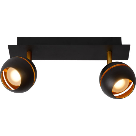 plafonnier design noir 2 spots boule sevina. Black Bedroom Furniture Sets. Home Design Ideas