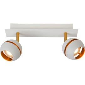 Plafonnier design blanc 2 spots boule Sevina