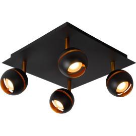 Plafonnier design noir 4 spots boule Sevina