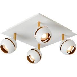 Plafonnier design blanc 4 spots boule Sevina