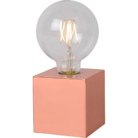 Lampe de table design Led intégré socle cubique métal saumon Svelta