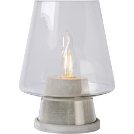 Lampe de table design en verre et bois gris Fabio