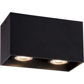 Plafonnier design cubique noir 2 ampoules Malicia