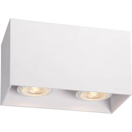 Plafonnier design cubique blanc 2 ampoules Malicia