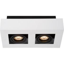 Plafonnier moderne noir et blanc 2 ampoules led Cinno