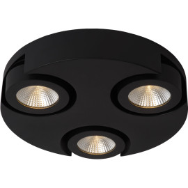 Plafonnier moderne rond 3 spots led noir Troxy