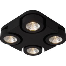 Plafonnier moderne carré 4 spots led noir Troxy