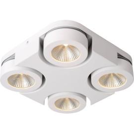 Plafonnier moderne carré 4 spots led blanc Troxy