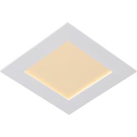 Plafonnier classique blanc led carré L 17cm Trosy