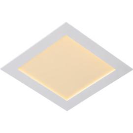 Plafonnier classique blanc led carré L 22cm Trosy