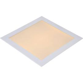 Plafonnier classique blanc led carré L 30cm Trosy