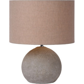 Lampe de table contemporaine en béton et en lin taupe Madox