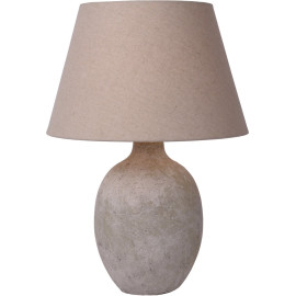 Lampe de table contemporaine en béton et en lin taupe Maliboo