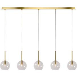 Suspension design 5 lampes en métal doré et verre Adèle