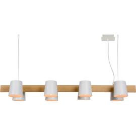 Suspension contemporaine 8 lampes bois et métal blanc Hortense
