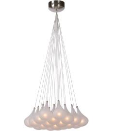 Suspension design en verre satiné 19 lampes Flocon