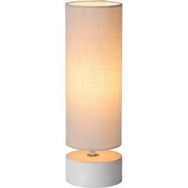 Lampe de table baroque béton et lin bleu clair Maryse