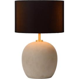 Lampe de table contemporaine en béton tissu et métal or mat Lutèce