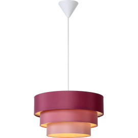 Suspension design ronde en tissu rose Ming