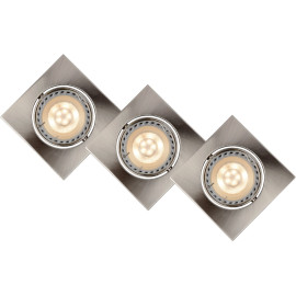 Lot de 3 spots design encastrable carré chrome Liana