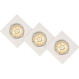Lot de 3 spots design encastrable carré blanc Liana