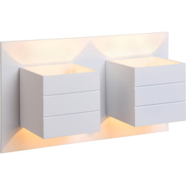 Applique contemporaine double en aluminium blanc Lea